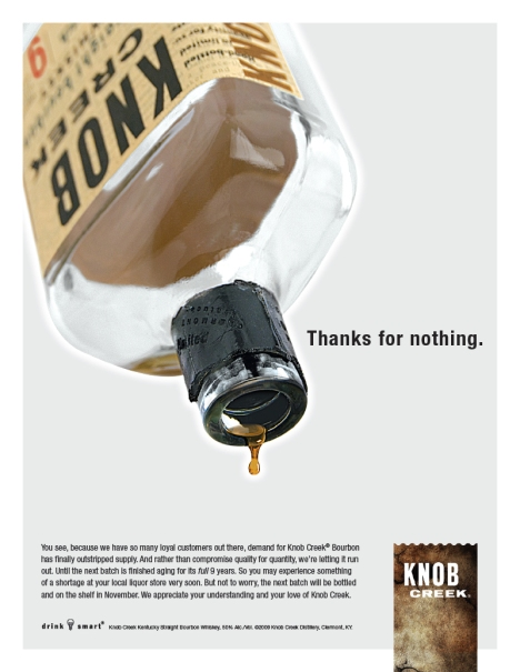Knob Creek Whiskey, So Scarce you can't get it until November 2009