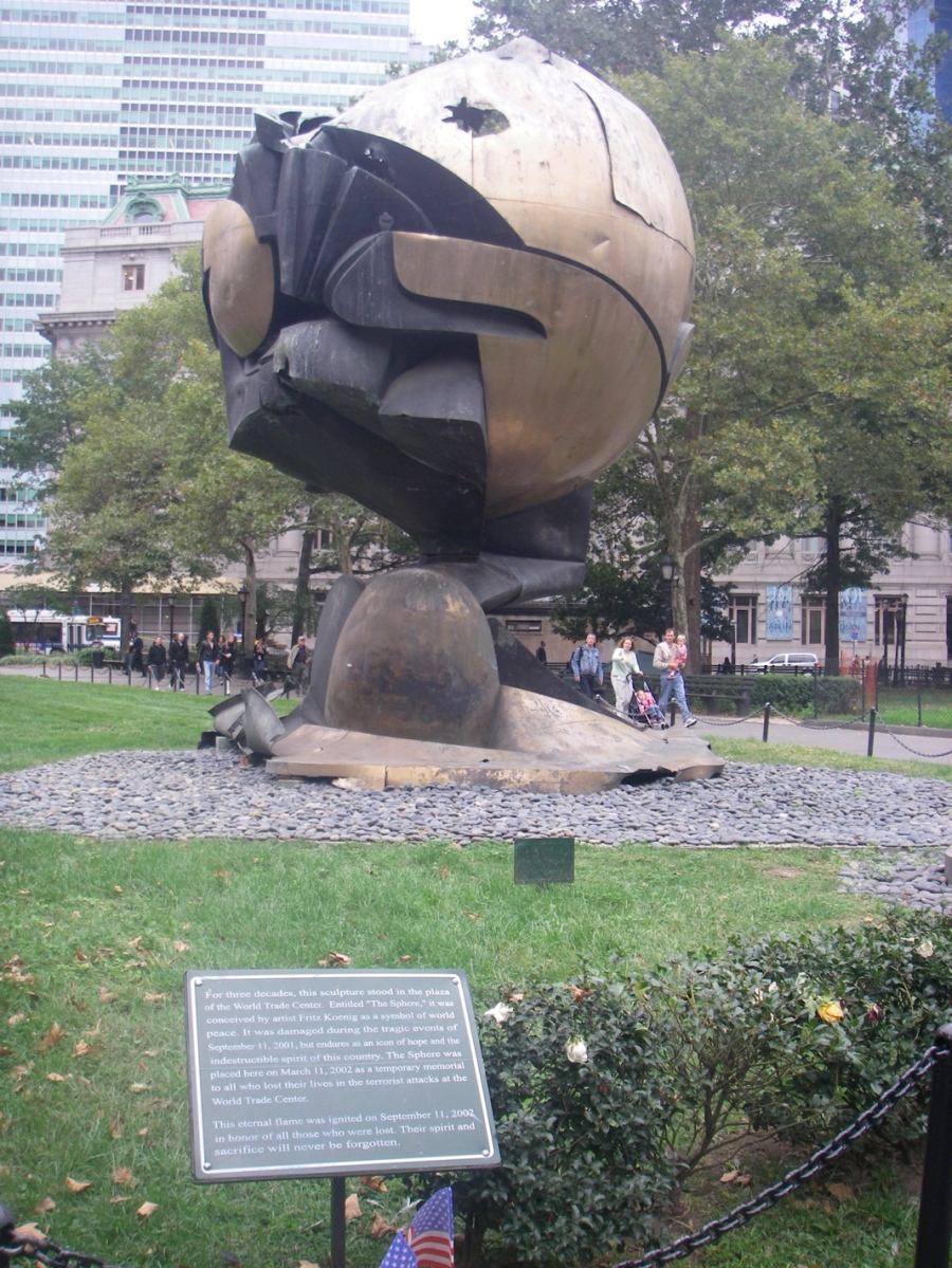 The Sphere is another 9/11 reminder and this damaged relic is from the Plaza of the Word Trade Cetre