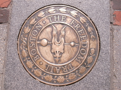 The brass plaque of the freedom Trail