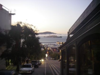 I'm sorry this shot is out of focus, but bowling up a hill on a San Francisco Trolly Bus, with a view over Alcatraz was too much for my flash to cope with!