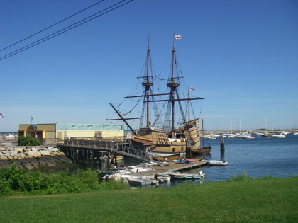 The Mayflower II in Plymouth Harbour in all its glory