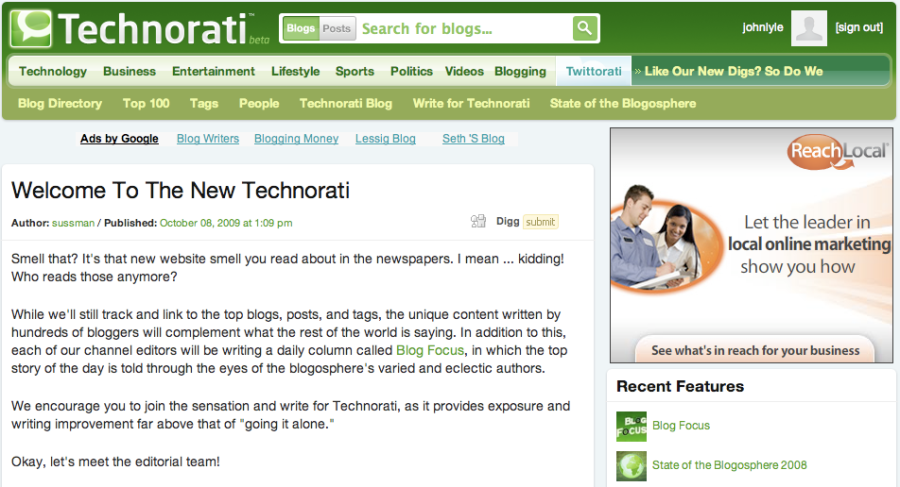Oooh look, a bold fresh look for Technorati