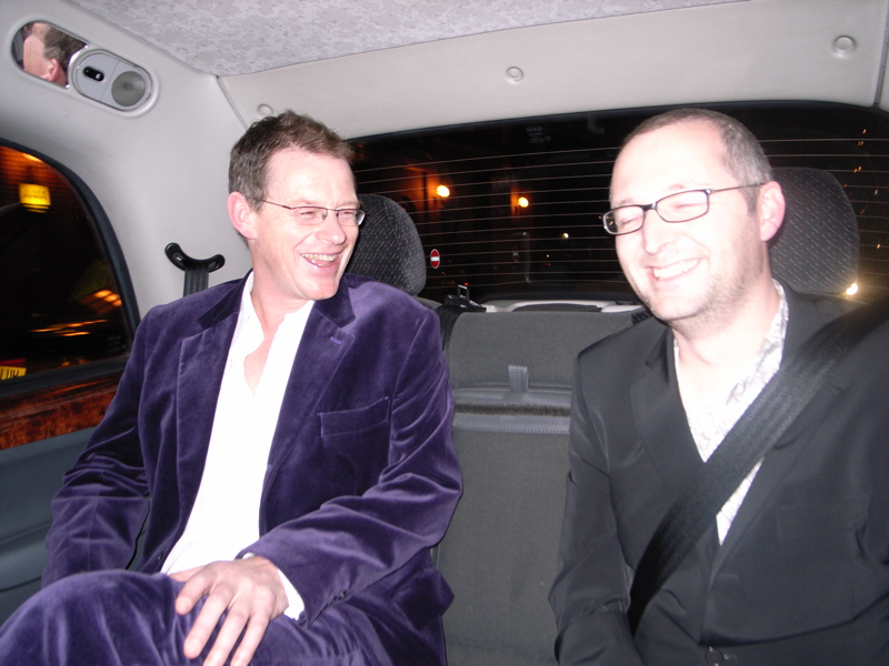 Simon and Mich in the cab - as you can see, Simon has his award suit on