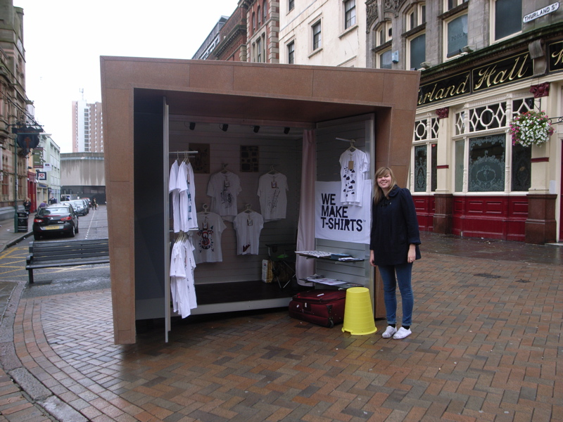 Gill Heeley of We Make T-Shirts with their three days of fame at Kioskiosk in Pelham Street Nottingham