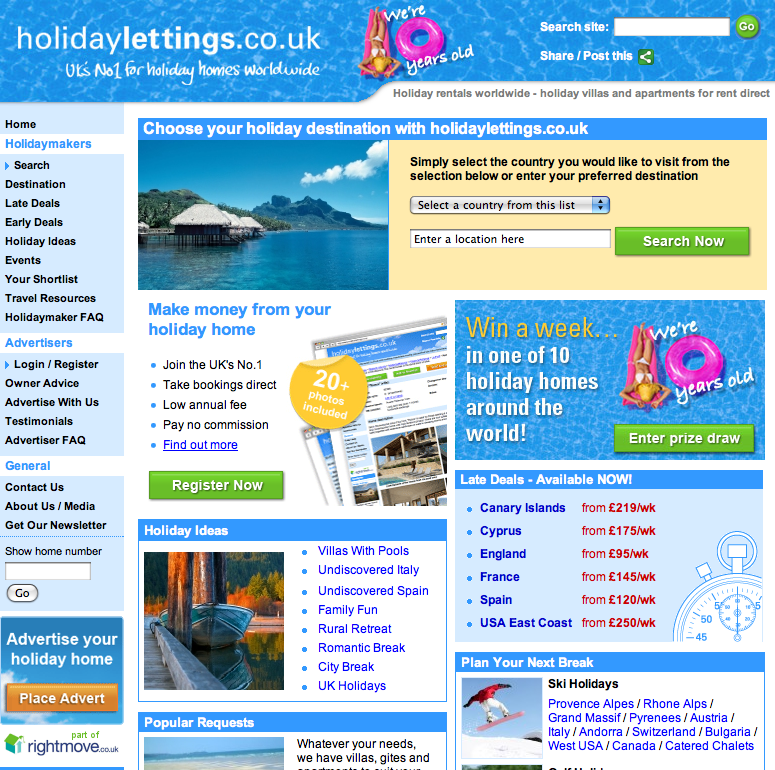 Holiday Lettings, which is now part of Rightmove