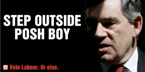 New Labour poster for Gordon Brown - Step outside posh boy