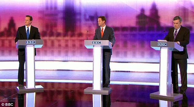 BBC debate - showing Nick Clegg of the Liberal Democrats at the centre of the stage