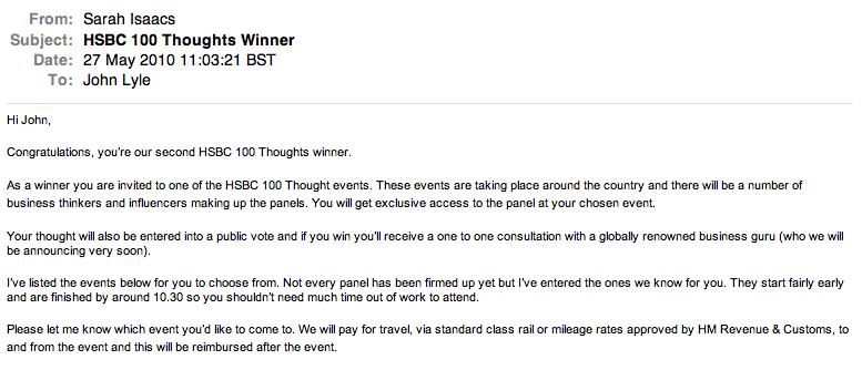 HSBC 100 Thoughts winner