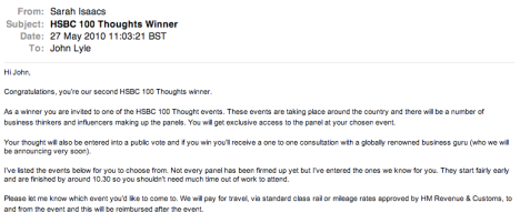 HSBC 100 Thoughts winner