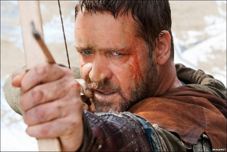 Russell Crowe as Robin Hood in the new movie Robin Hood that premiered tonight in Nottingham's Cornerhouse Leisure and entertainment complex