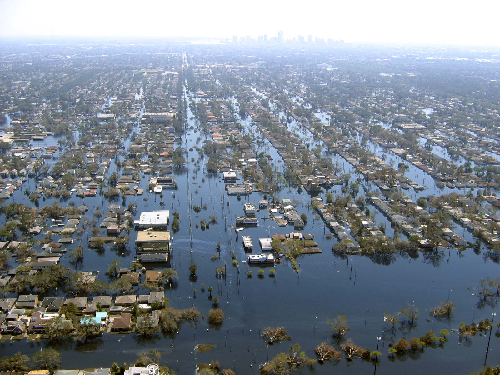 New Orleans floods from the air - the perfect place to show the concept of anywhere, better, best in action