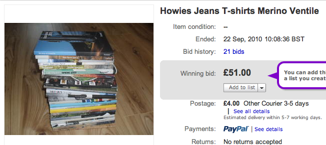 An almost complete Howies catalogue collection that sold for £51 on ebay