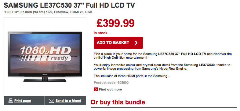 "Samsung 37"" LCD TV from Dixons at £399.99"