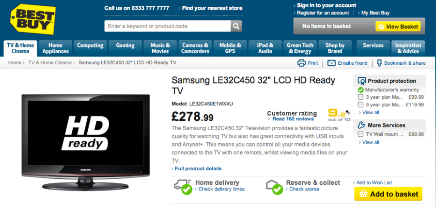 "Blogger Power - the newly reduced Samsung LE32C450 32"" LCD HD Ready TV"