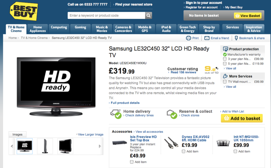 "Samsung LE32C450 32"" LCD HD Ready TV from Best Buy"