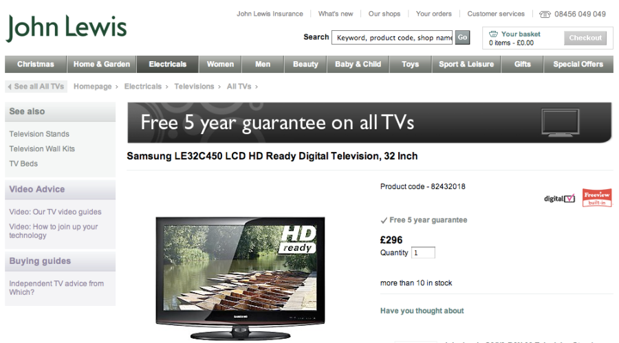 "Samsung LE32C450 32"" LCD HD Ready TV from John Lewis"