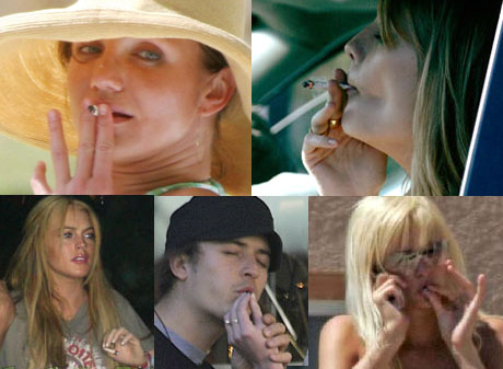 Celebrities smoking ad looking rather uncool doing it - In fact they all look rather haggard and pinched