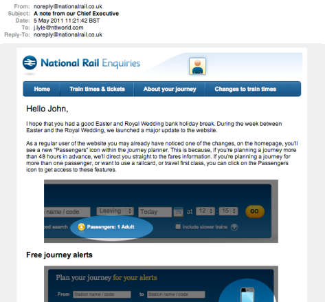 A lovely Personalised email from Chris, our friendly Chief Executive of National Rail