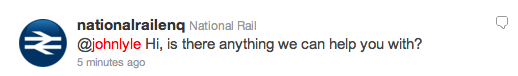 National Rail reply on Twitter