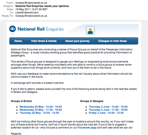 National Rail - We pretend we listen, but we don't.
