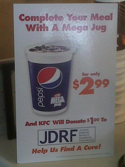 The KFC Half Gallon Fizzy Drink - the more you drink the more kids you kill/save