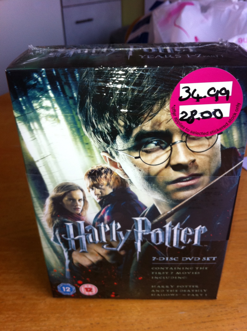 Harry Potter seven disc box-set for £28 from HMV