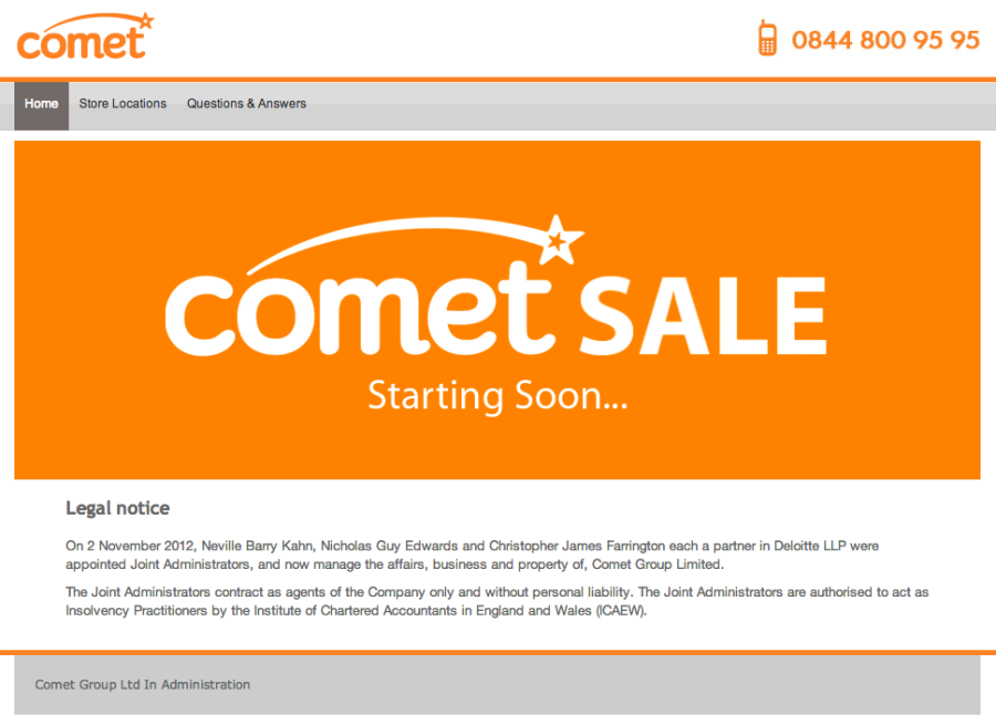 What chance Comet and any other underfunded high street retailer?
