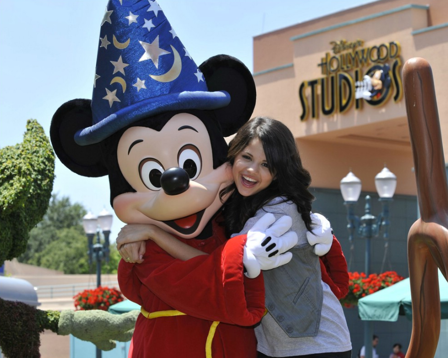Selena Gomez and Mickey Mouse hugging
