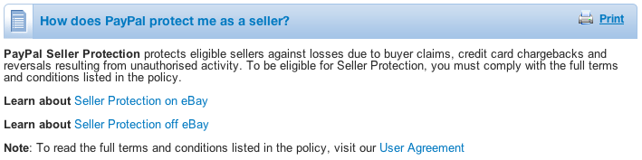 Paypal Seller protection Programme