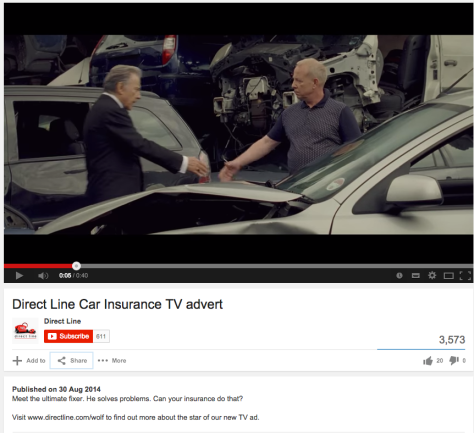 One week on and only 3,573 views for the Harvey Keitel ad on YouTube for Direct Line