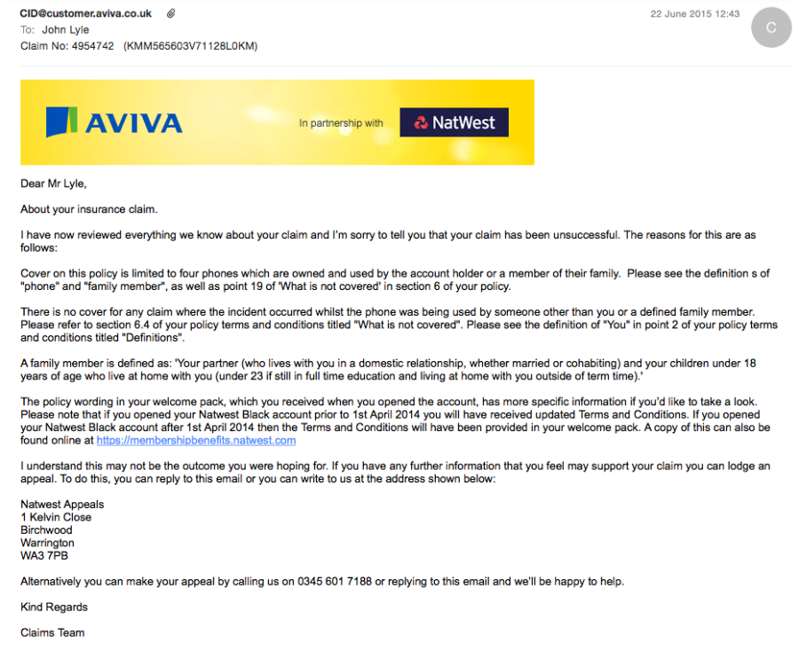 The rejection letter from Aviva Natwest and Carphone whorehouse