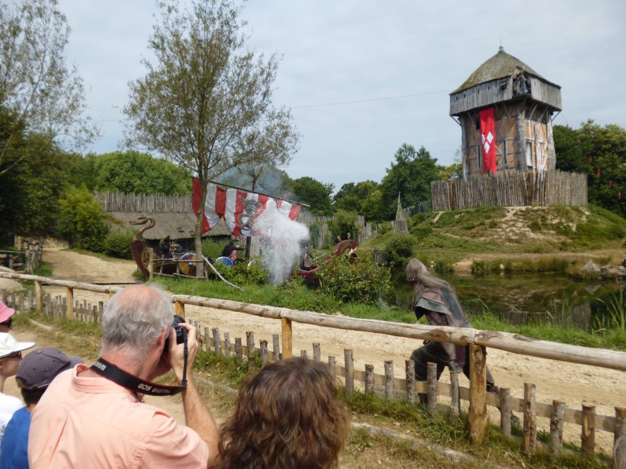 A viking ship arrives as part of the viking show at Puy du Fou