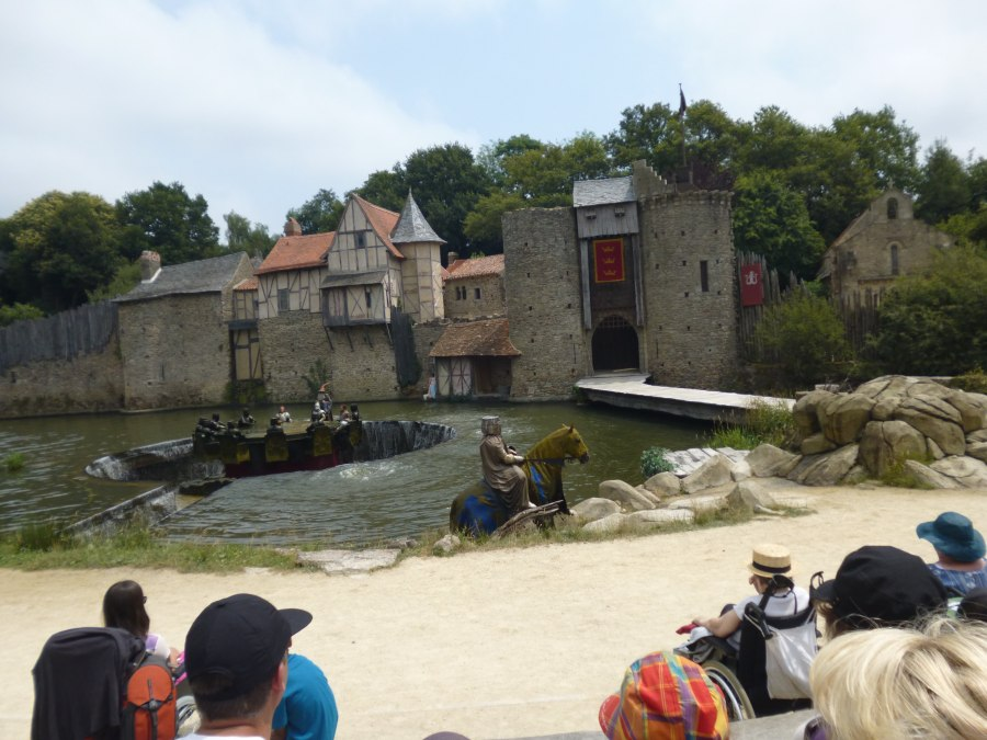 Before a horse emerges from under the water which is unusual at Puy du Fou