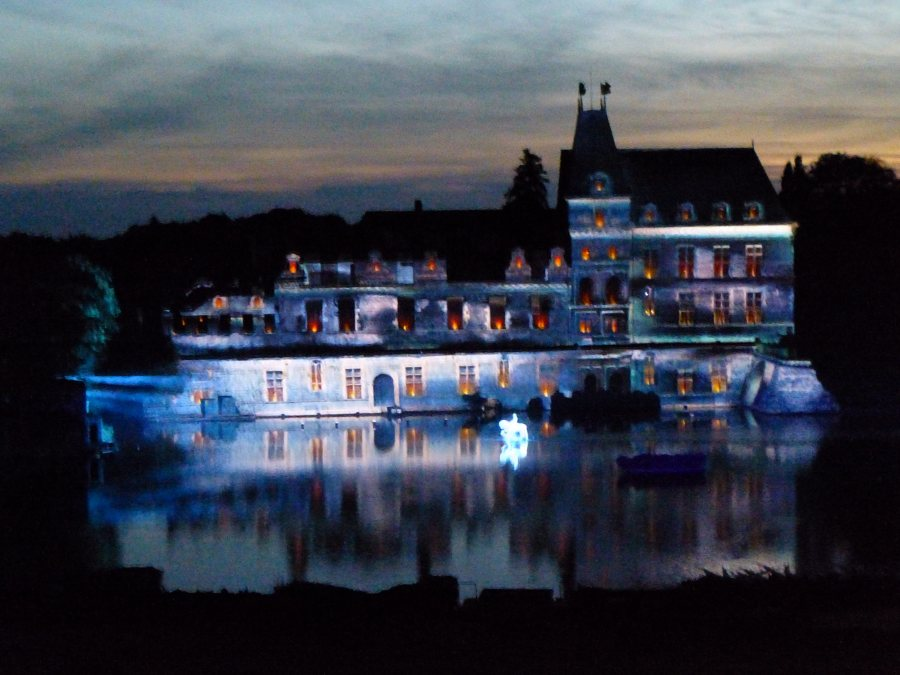 The castle is transformed by light at Cinescenie at Puy du Fou