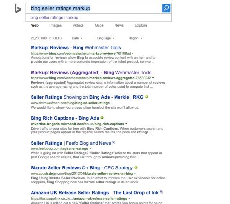 Bing Seller ratings search results in Bing