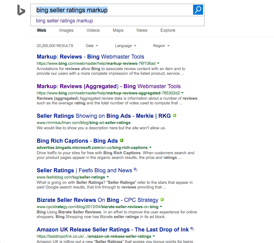 Bing Seller ratings search results in Bing