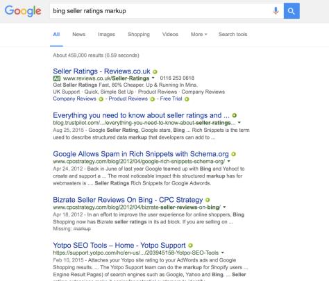 Bing Seller ratings search results in Google