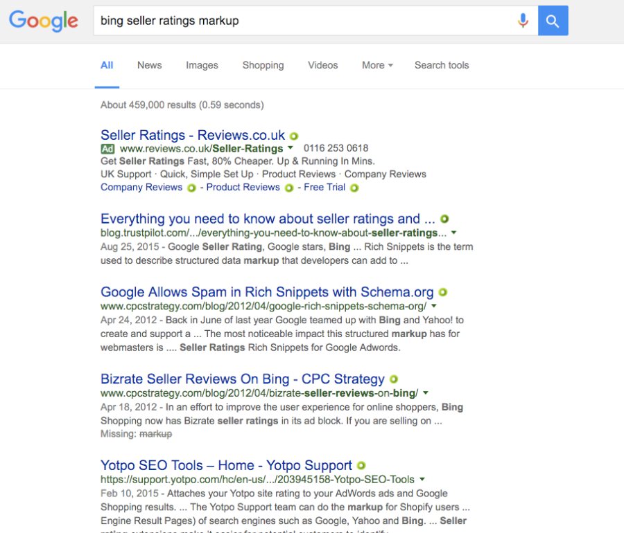 Bing Seller ratings search results in Google